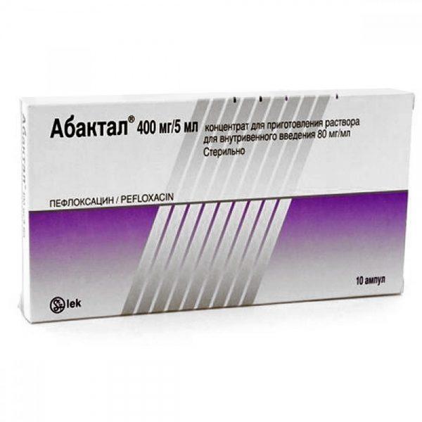 Abaktal (pefloxacin) ampoules 400 mg. 5 ml. №10