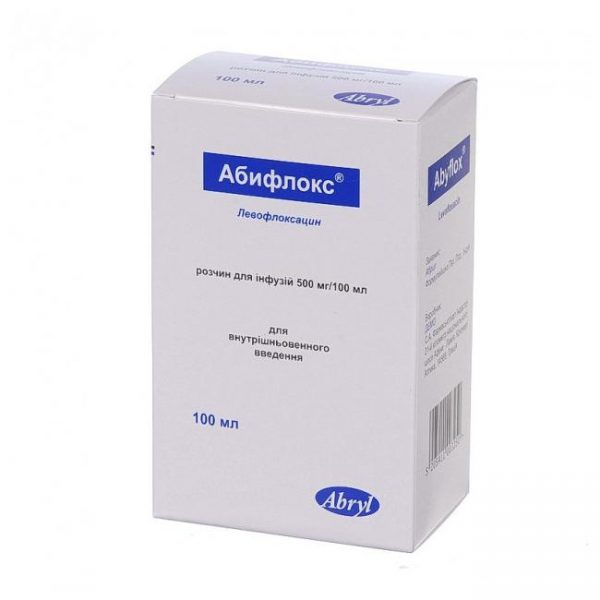 Abiflox (levofloxacin) solution for infusions 500 mg 100 ml.