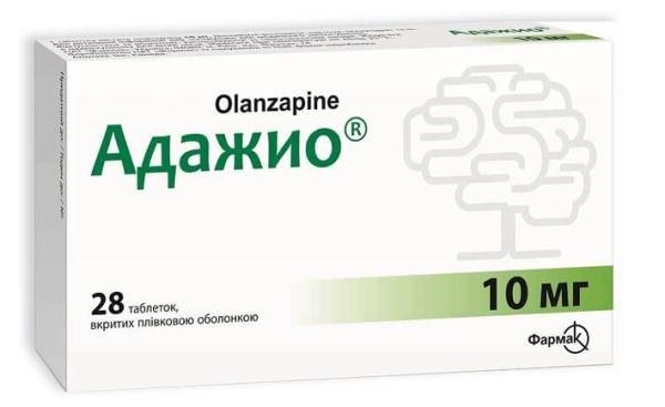 Adajio (olanzapin) coated tablets 10 mg. №28