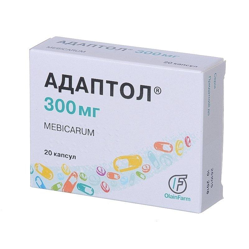 Adaptol (mebikar) capsules 300 mg. №20