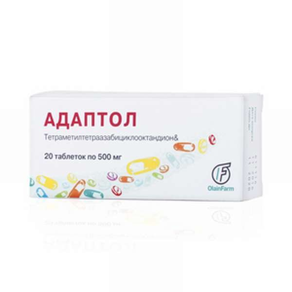 Adaptol (mebikar) tablets 500 mg. №20