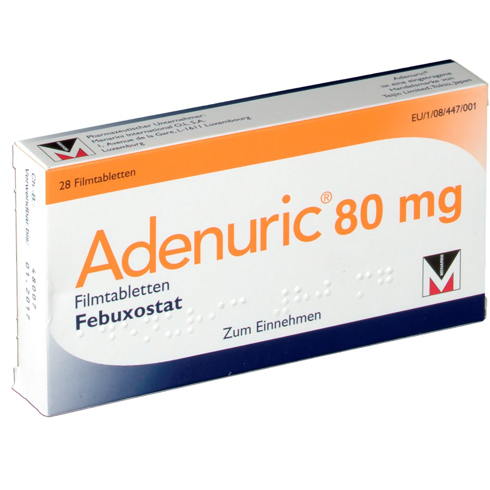 Adenuric (febuxostat) coated tablets 80 mg. №28
