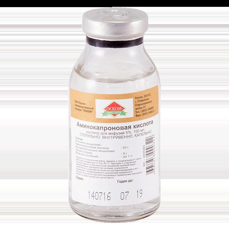 Aminocaproic acid (aminocaproic acid) 5% 100 ml.