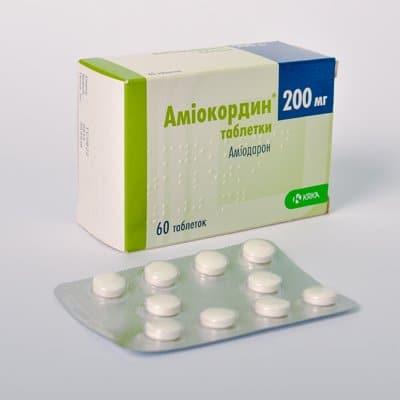 Amiokordin (amiodarone hydrochloride) tablets 200 mg. №60