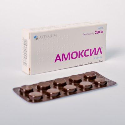 Amoxil (amoxicillin) tablets 250 mg. №20