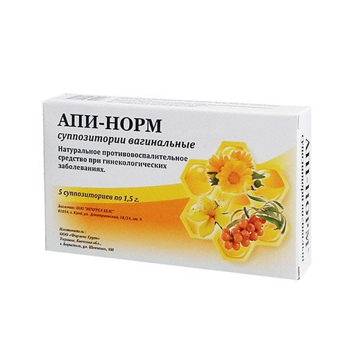 Api-Norm (activated propolis extract) vaginal suppositories №5