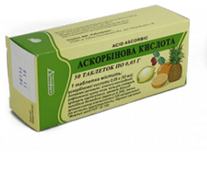 Ascorbic acid (ascorbic acіd) chewing tablets 50 mg. №50