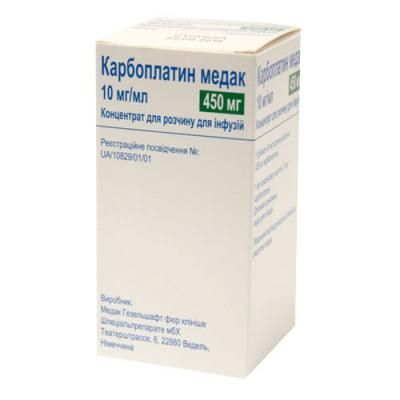 Carboplatin Medak (karboplatin) concentrate for infusions 10 mg/ml. 45 ml. vial №1