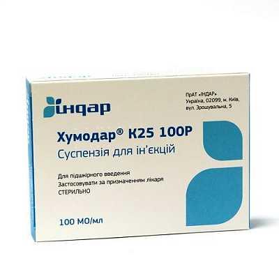 Chumodar K (insulin) 25 100R suspension 100 OD/ml. 3 ml. №5 cartridge