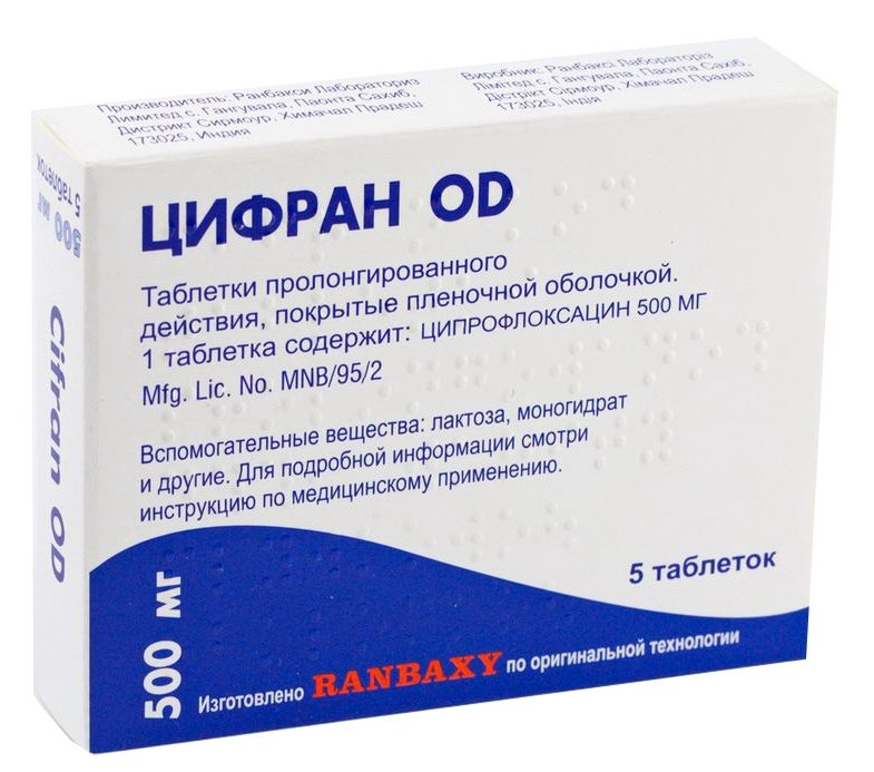 Cifran OD (ciprofloxacin) tablets with prolonged release 500 mg. №5