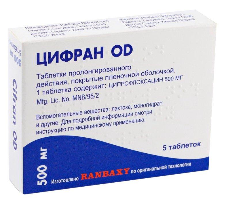 Cifran OD (ciprofloxacin) tablets with prolonged release 500 mg. №5