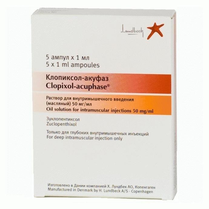 Clopixol (zuclopenthixol) solution for injections ampoules 50 mg. 1ml. №10