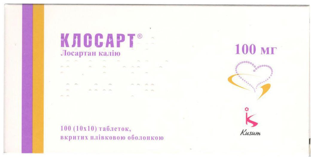 Closart (losartan) coated tablets 100 mg. №100
