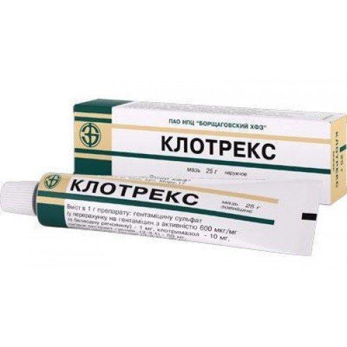 Clotrex (clotrimazole, gentamicin sulfate) ointment 25 g. tube
