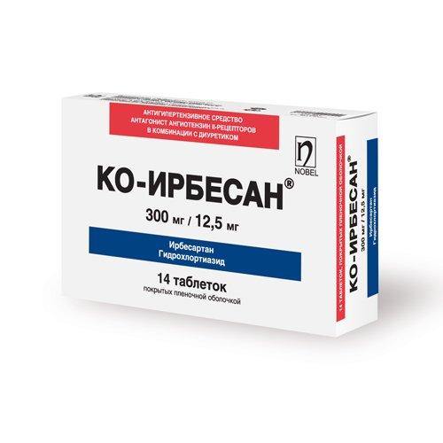 Co-Irbesan (irbesartan, hydrochlorothiazide) coated tablets 300 mg/12.5 mg. №28