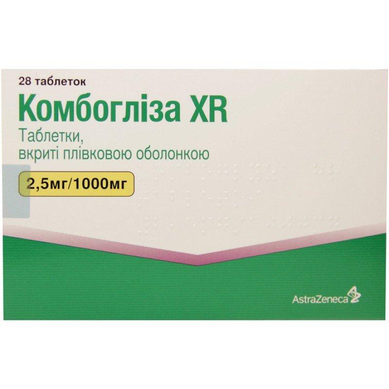 Combogliza XR (saxagliptin, metformin) coated tablets 2.5 mg/1000 mg. №28