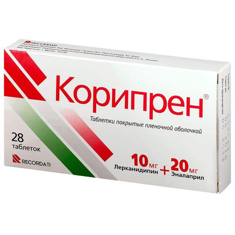 Coripren (enalapril, lercanidipine) coated tablets 20 mg/10 mg. №28
