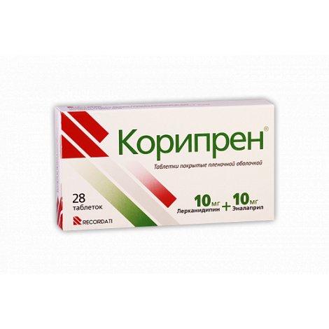 Coripren (enalapril, lercanidipine) coated tablets 10 mg/10 mg. №28