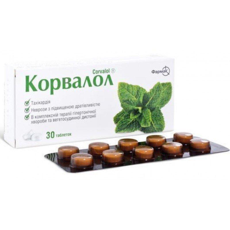 Corvalol (ethyl alpha-bromsulfaleinovy acid) tablets №30