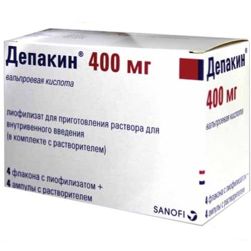 Depakin (sodium valproate) 400 mg. lyophilisate for solution for injections 400 mg. vial №4 + solvent 4 ml. №4