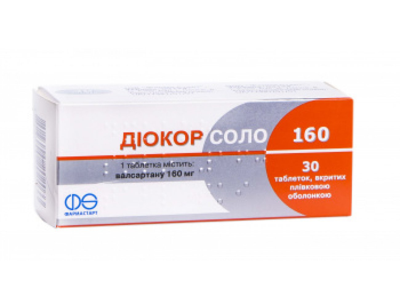 Diocor Solo 160 (valsartan, hydrochlorothiazide) coated tablets 160 mg. №30