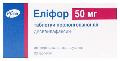 Elifor (desvenlafaxine succinate) tablets with prolonged release 50 mg. №28
