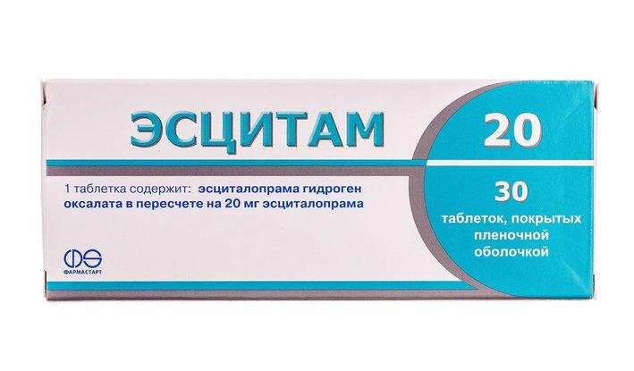 Escitam (escitalopram) 20 coated tablets 20 mg. №30