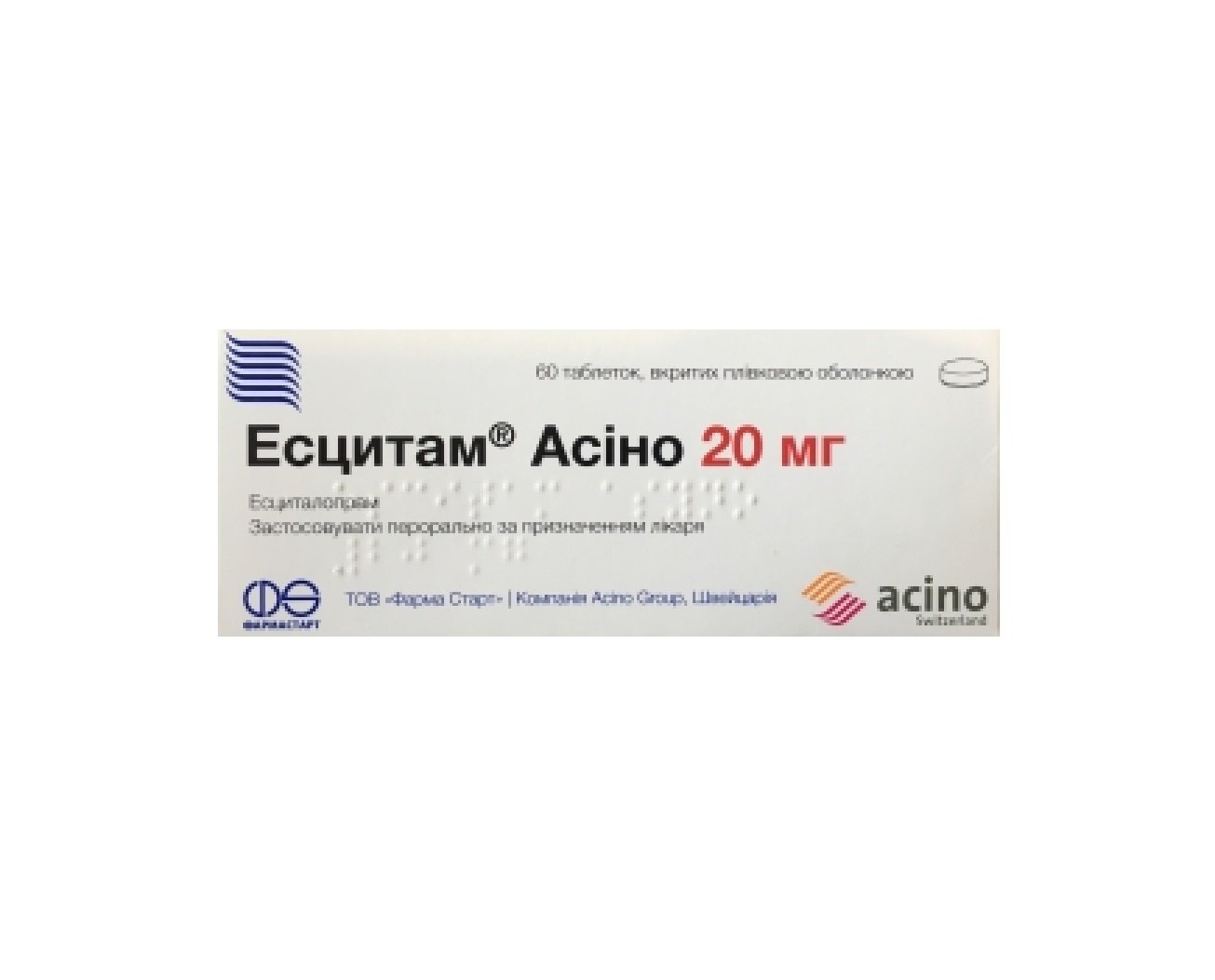 Escitam Asino (escitalopram) coated tablets 20 mg. №60