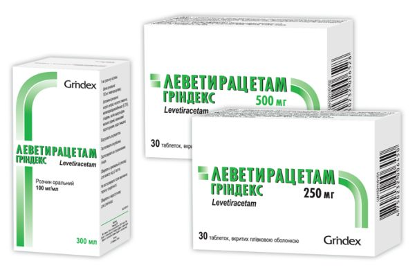Levetiracetam Grindex coated tablets 500 mg. №30