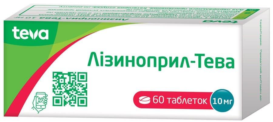 Lisinopril-Teva-10 mg tablets 10 mg. №60