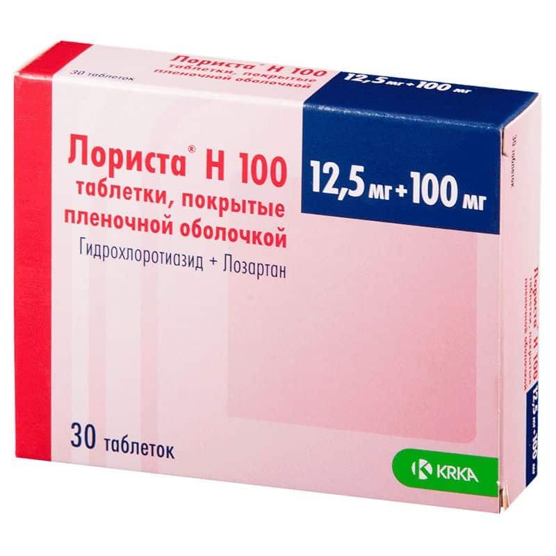 Lorista H coated tablets 100 mg/12.5 mg. №30