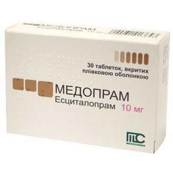 Medopram (escitalopram) coated tablets 10 mg. №30