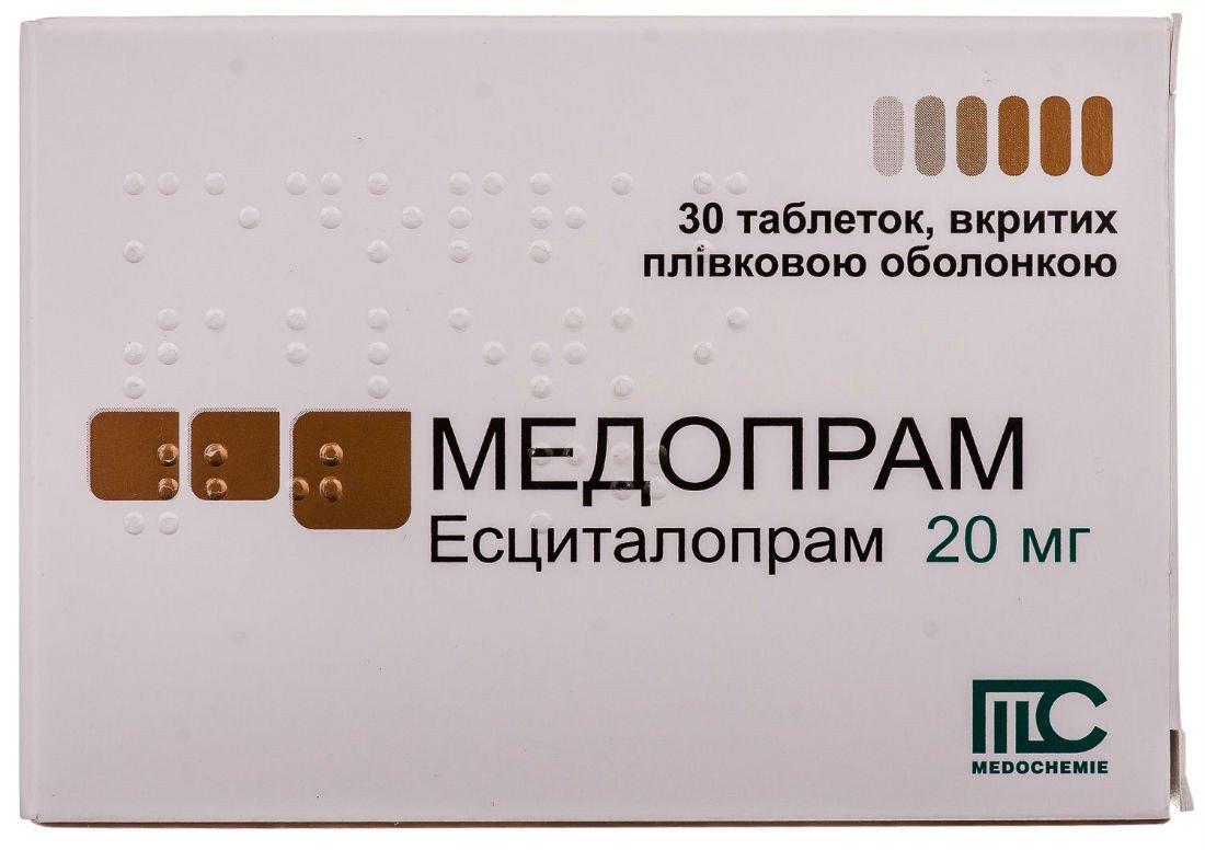 Medopram (escitalopram) coated tablets 20 mg. №30