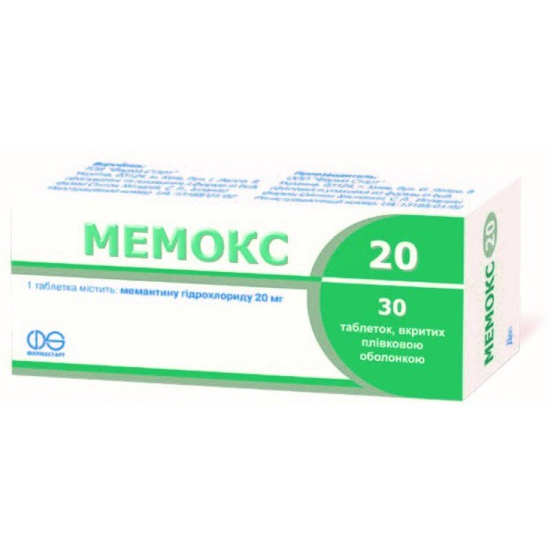 Memox (memantine) 20 coated tablets 20 mg. №30
