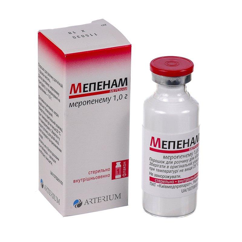 Mepenam (meropenem) powder for solution for injections 1g. №1 vial