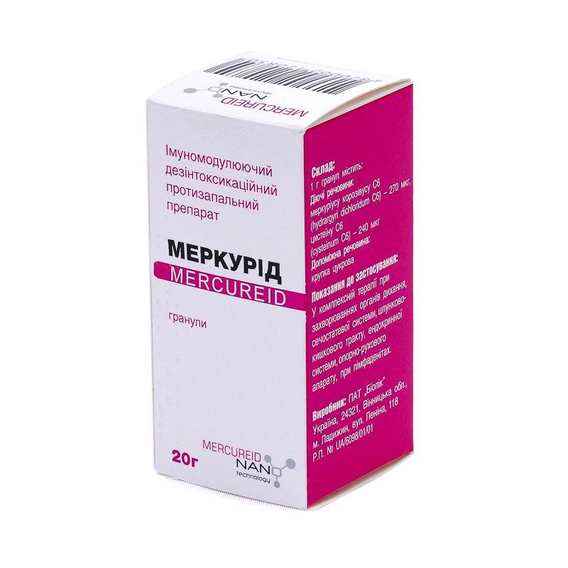 Mercurid (hydrargyri dichloridum C6) homeopathic granules 20 g.
