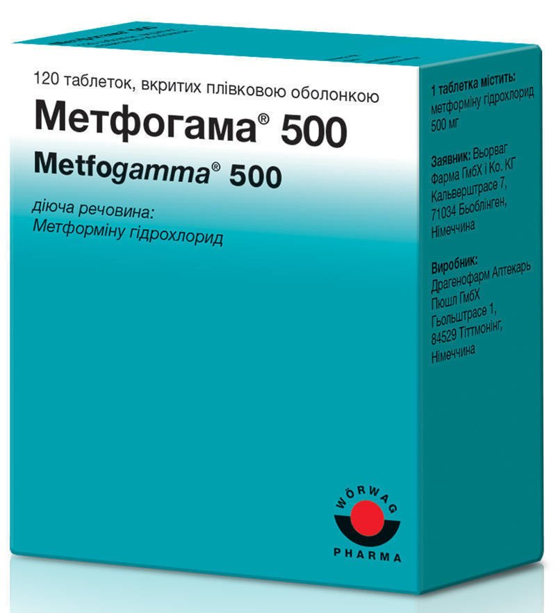 Metfogama (metformin) 500 coated tablets №120