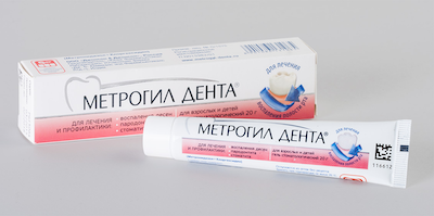 Metroviol Denta (metronidazole benzoate, chlorhexidine gluconate) gel for gums 20 g. tube