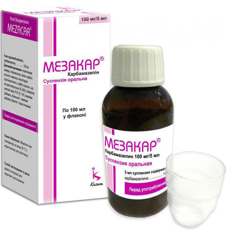 Mezacar (carbamazepin) oral suspension 100 mg/5 ml. 100 ml. vial