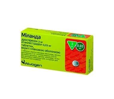 Milanda (drospirenone, ethinyl estradiol) coated tablets 3 mg/0.03 mg. №21