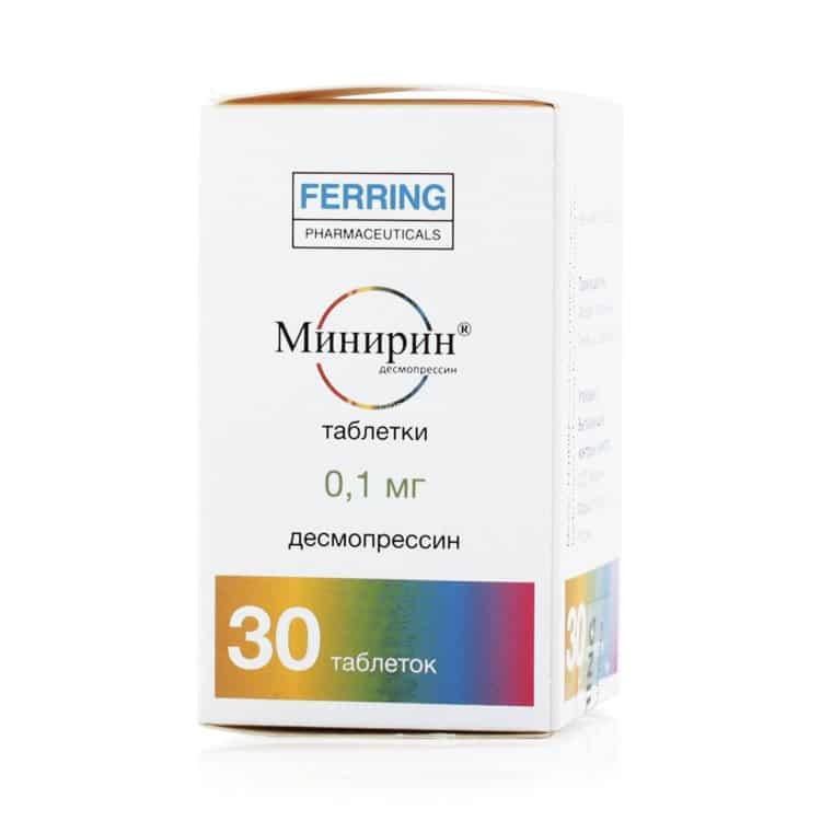 Minirin (desmopressin) tablets 0.1 mg. №30 vial