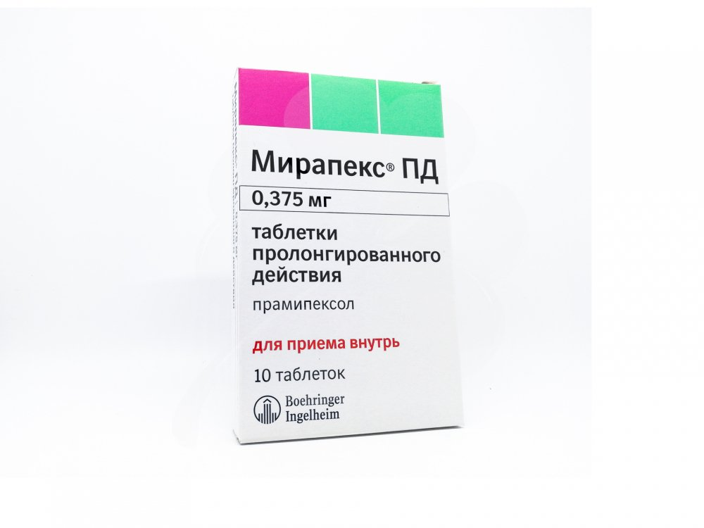 Mirapex PD (pramipexol) tablets with prolonged release 0.375 mg. №30