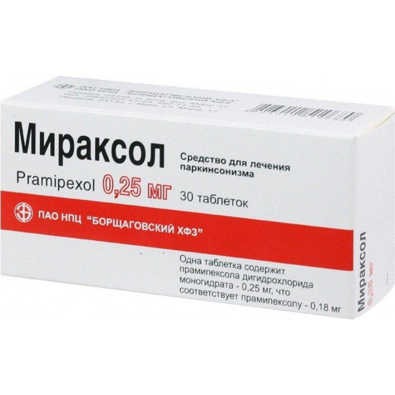 Miraxol (pramipexole dihydrochloride monohydrate) tablets 0.25 mg. №30