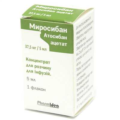 Mirosiban (atosiban acetate) concentrate for infusions 37.5 mg/5 ml. 5 ml. vial №1