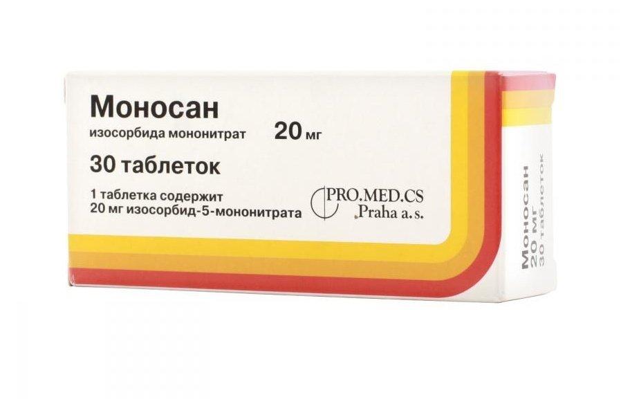Monosan (isosorbide Mononitrate) tablets 20 mg. №30