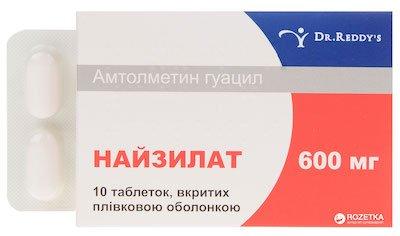 Naizilat (amtolmetin guacil) coated tablets 600 mg. №10