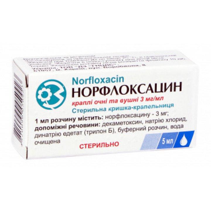 Norfloxacin (norfloxacin) eyes/Ears and Nose drops solution 0.3% 5 ml.