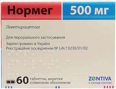 Normeg (levetiracetam) coated tablets 500 mg. №60