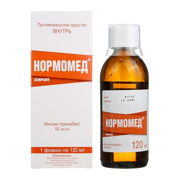 Normomed (inosin pranobex) syrup 50 mg/ml. 120 ml. vial