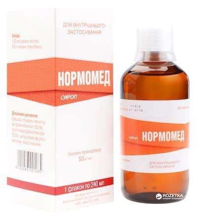 Normomed (inosin pranobex) syrup 50 mg/ml. 240 ml. vial